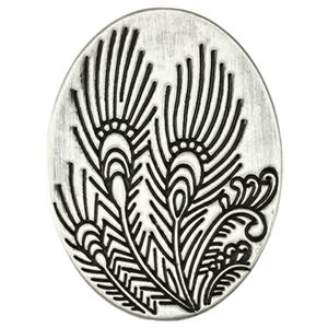 Picture of Silver Peacock Feather Oval Screen